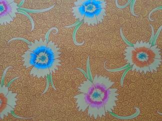Bomullstyg gult/blommor (Dianthus)