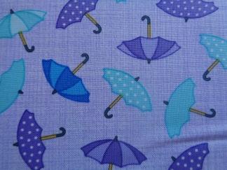 Bomullstyg lila paraplyer (Rainy Day)
