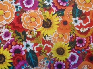 Bomullstyg mångfärgade blommor (Florianna)
