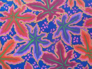 Bomullstyg blått/bruna blad (Lacy Leaf)
