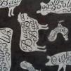 Bomullstyg svart med djurmotiv (Homegrown)