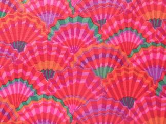Bomullstyg rosa solfjädrar (Paper Fans)