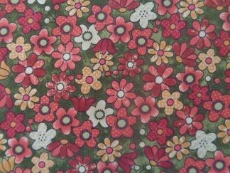 Bomullstyg grönt/röda blommor (Garden Days)