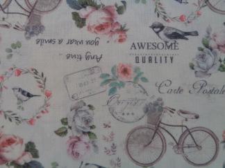 Bomullstyg cyklar, blommor, text (La Concorde)