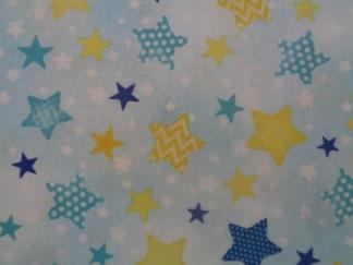 Bomullstyg blå-gula stjärnor (To the Moon)