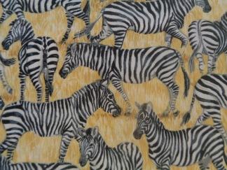 Bomullstyg gult/zebra (Safari Zebra)