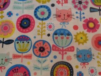 Bomullstyg katter - blommor (Kitty Floral)