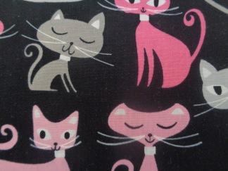 Bomullstyg svart/rosa-grå katter (Whiskers & Tails)