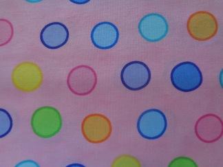 Bomullstyg rosa/stora prickar (Dot.Dot.Dash-!)