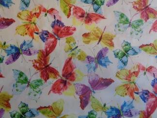 Bomullstyg pastellfärgade fjärilar (Butterfly Effect)