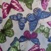 Bomullstyg blå, gröna, cerise fjärilar (Butterfly Forest)
