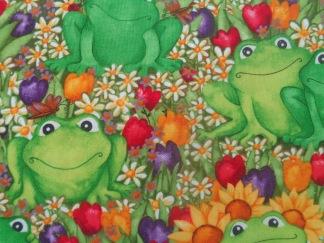 Bomullstyg gröna grodor