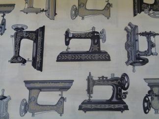 Bomullstyg beige/symaskiner (Vintage Couturier)