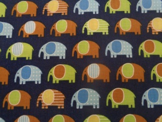 Bomullstyg mörkblått/elefanter (Urban Zoologie Minis)