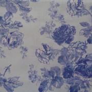 Bomullstyg blå rosor (Victorian Rose)