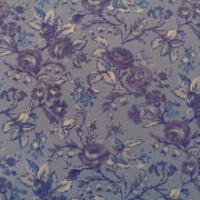 Bomullstyg blå blommor (Devon Rose)
