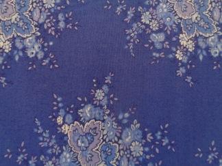 Bomullstyg blå bukett (Anglaise)