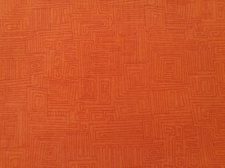 Bomullstyg orange labyrint (Bear Essentials)