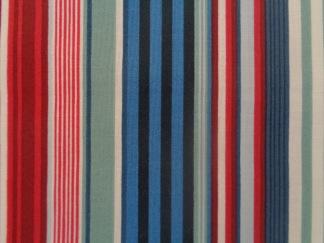 Bomullstyg blå rand (Deckchair Stripe)
