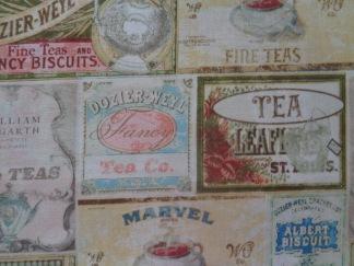 Bomullstyg te-etiketter (Tea Time)