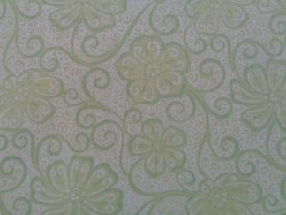 Bomullstyg ljusgrön blomma (Meadow Dance)