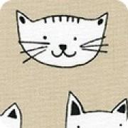 Bomullstyg beige/katter (Whiskers & Tails)