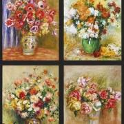 Bomullstyg blombuketter i vas (Renoir)