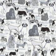 Bomullstyg vitt/hundar (Dog Breeds)