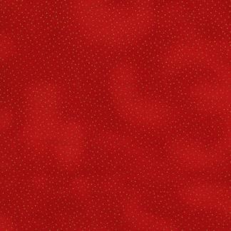 Bomullstyg rött/guldprickar (Metallic Dots)