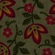 Bomullstyg grönt/röd blomma (Pieceful Pines)