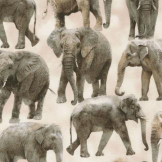 Bomullstyg beige/grå elefanter (Wild)