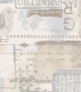Bomullstyg beige-grått musiktema (Songbook Grace)