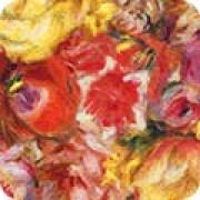 Bomullstyg röda blommor (Renoir)