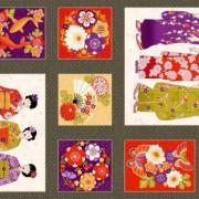 Bomullstyg mönstrad panel (Kimono)