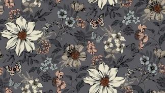 Bomullstyg grått/blommönster (Dream)