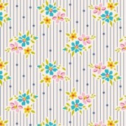 Bomullstyg blomma och prick (Tilda Nancy blå)