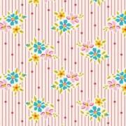 Bomullstyg blomma och prick (Tilda Nancy röd)