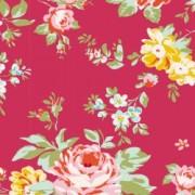 Bomullstyg blommigt (Tilda Bonnie röd)