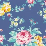 Bomullstyg blommigt (Tilda Shirly blå)