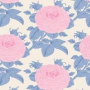 FYND! Bomullstyg Tilda Sunkiss Grandma's rose blå