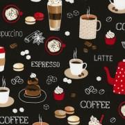 Bomullstyg kaffemotiv (Timeless Treasures)