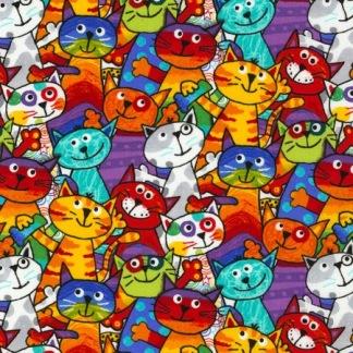 Bomullstyg katter multifärg (Timeless Treasures)