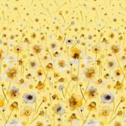 Bomullstyg gula blommor (Ink Flowers)