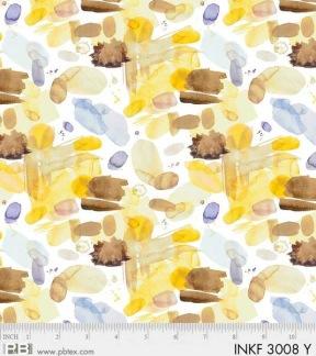 Bomullstyg gul-brunt fläckmönster (P&B Textiles)