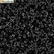 Bomullstyg svart/silvertryck (Metallic Mixers)