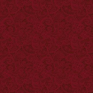 Bomullstyg mörkrött spetsmönster (A Festive Season)