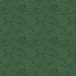 Bomullstyg mörkgrönt spetsmönster (A Festive Season)