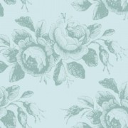 Bomullstyg turkos blommor (Tilda Old Rose)