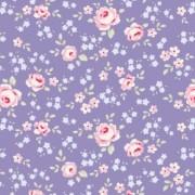 Bomullstyg blått blommönster (Tilda Old Rose)