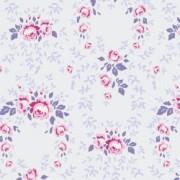 Bomullstyg lavendelblå blommor (Tilda Old Rose)